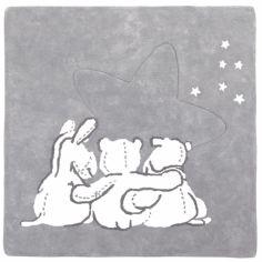 Tapis coton gris et blanc Poudre d'�toiles 3 personnages (120 x 120 cm)  - Noukie's
