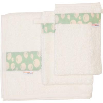 Set 1 serviette et 2 gants de toilette balloon turquoise