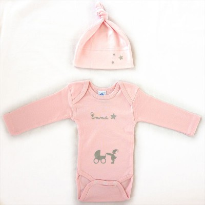Ensemble bonnet body rose manches longues for Meubles flamant outlet