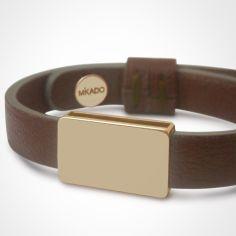 Bracelet cuir Hip-Hop Chocolat (or jaune 750� et cuir) - Mikado