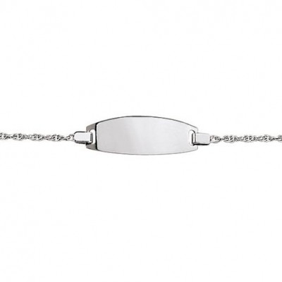 Gourmette b�b� plaque ovale cha�ne for�at diamant�e (or blanc 750�) - Berceau magique bijoux