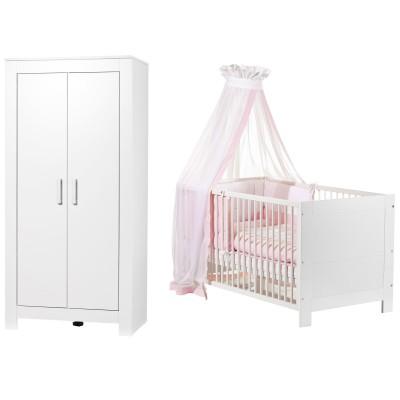 Pack duo marlene blanc lit bébé et armoire 2 portes