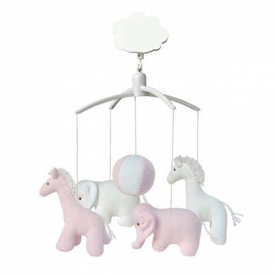 Mobile musical girafe, éléphant rose et blanc