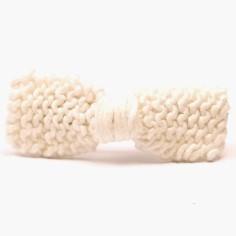 Barrette grand noeud tricot� main blanc (7 cm) - Mamy Factory