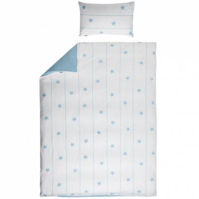 Parure de lit rversible blanc et bleu housse taie 140 x for Parure de lit bleu et blanc