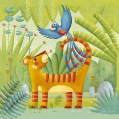Tableau Ambiance Tropicale by Le�la Brient Jungle meeting (30 x 30 cm) - Lilipinso