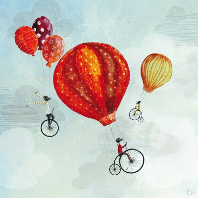 Tableau cyclistes in volo by manuela magni (40 x 40 cm)