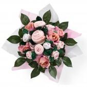 Bouquet de naissance Hand tied bouquet rose (9 pièces) - Babyblooms