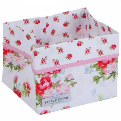 Panier de rangement floral rose (petit modèle)
