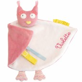 Doudou attache t�tine chouette Mademoiselle et Ribambelle personnalisable 26 cm) - Moulin Roty