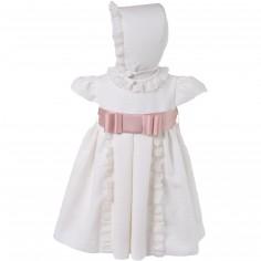 Robe courte de bapt�me beige claire noeud rose jacquard (12 mois : 74 cm)  - Alves