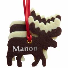 Kit d�coration de No�l en feutrine rennes marrons et blancs - Les Griottes
