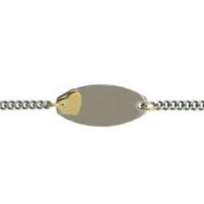 Gourmette motif coeur plaque ovale 14 cm (or jaune 750� et acier) - A.Augis