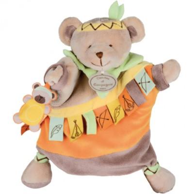 Doudou marionnette étiquette ours (23 cm)
