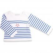 T-shirt marini�re bleu Etoile rouge (3 mois : 62 cm) - Mamy Factory
