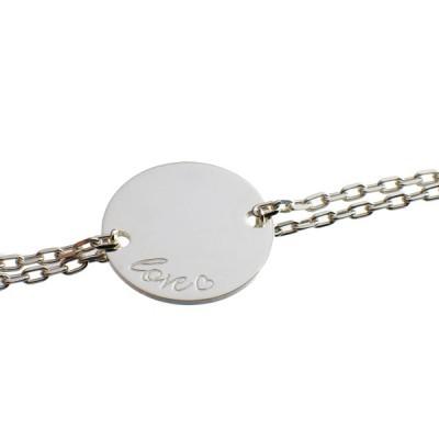 bracelet empreinte gourmette double chane 14 cm or blanc. Black Bedroom Furniture Sets. Home Design Ideas