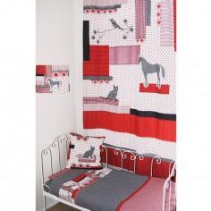 Rideau Patchwork rouge / noir (145 x 280 cm) - Taftan