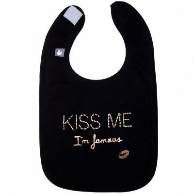 Bavoir coton kiss me i'm famous noir