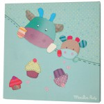 Cadre toile bleu Les jolis pas beaux (30 x 30cm) - Moulin Roty