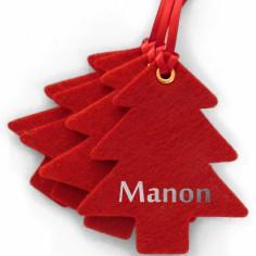 Kit d�coration de No�l en feutrine sapins rouges - Les Griottes