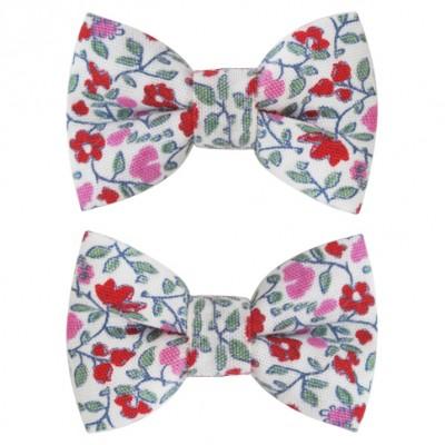 barrettes classique mini noeud papillon fleuri rose lot de. Black Bedroom Furniture Sets. Home Design Ideas