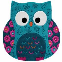Tapis Little Owl hibou bleu (100 x 100 cm)