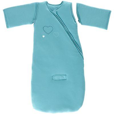 Gigoteuse naissance chaude à manches coton bio jersey coeurs 3 en 1 bleu océan tog 3 (70 cm)