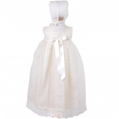 Robe longue de bapt�me �crue long noeud avec b�guin (3 mois : 60 cm)  - Alves