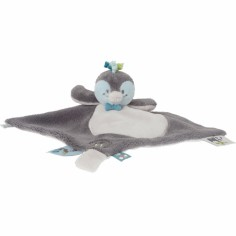 Doudou plat Louis le pingouin Tidou gris fonc� - Noukie's