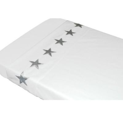Drap de lit etoiles blanc (120 x 150 cm)