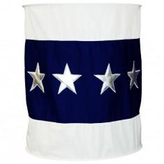 Suspension lampion en tissu Etoile bleu fonc� et blanc - Taftan