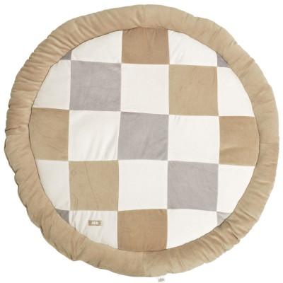tapis de jeu rond patchwork sable et gris 110 cm jollein. Black Bedroom Furniture Sets. Home Design Ideas