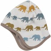 Bonnet r�versible marron �l�phants color�s (12-18 mois) - Organics for Kids