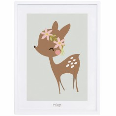 Poster encadr� faon et fleurs My little fawn by Vicky Carpenter (30 x 40 cm) - Lilipinso