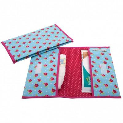 Pochette de change floral carreau rose et bleu