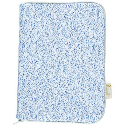 Protège carnet de santé à zip alice fleurs bleues