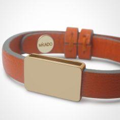 Bracelet cuir Hip-Hop Mandarine (or jaune 750� et cuir) - Mikado