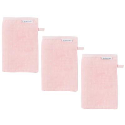 Lot de 3 gants de toilette en mousseline pink bows