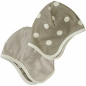 Bonnet r�versible taupe � pois blancs (12-18 mois) - Organics for Kids