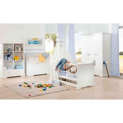 Pack trio cottage lit bébé évolutif, commode à langer et armoire trois portes