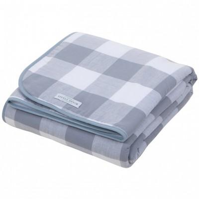 couverture de lit gris et blanc carreaux 110 x 140 cm. Black Bedroom Furniture Sets. Home Design Ideas