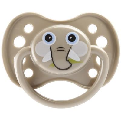 Sucette anatomique en silicone avec anneau masque éléphant (6 mois et +)