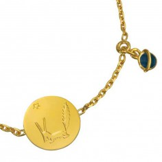 Bracelet m�daille le Renard du Petit prince, breloque plan�te bleue (or jaune 750� et �mail) - La Monnaie de Paris