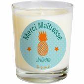 Bougie artisanale Merci ma�tresse ou Merci Nounou vert ananas (personnalisable) - Les Griottes