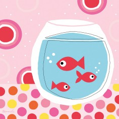 Tableau poissons confettis rose by Cl�mence G. (50 x 50 cm) - Lilipinso