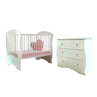 Pack duo chambre bébé perle lit à barreaux et commode