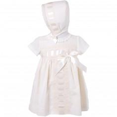 Robe courte de bapt�me �crue � noeud avec b�guin (6 mois : 68 cm)  - Alves