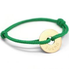 Bracelet cordon Mini Jeton (plaqu� or jaune) - Petits tr�sors