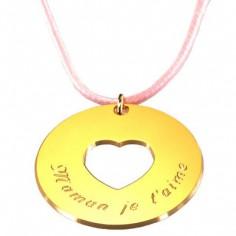 Pendentif sur cordon Message du coeur (plaqu� or jaune) - Petits tr�sors
