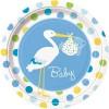 Assiettes en carton Cigogne bleues (8 pièces) - Baby S Event